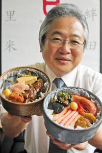 「越前焼茶碗すし」をPRする斎藤真理夫社長=永平寺町のフレッグ食品で