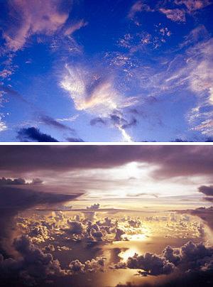 (上)オーストラリアの空を写した作品(下)グアム島上空で撮影した作品=いずれもミュゼふくおかカメラ館提供
