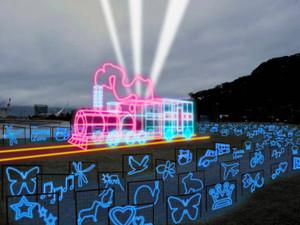 金ケ崎緑地で点灯する機関車イルミネーションのイメージ図(実行委事務局提供)