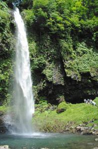 滝開きが行われ本格的な夏の観光シーズンを迎えた阿弥陀ケ滝=郡上市白鳥町前谷で