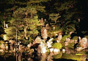 昨年の青岸寺庭園ライトアップの様子=米原市米原で