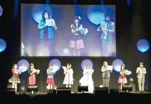大阪公演で朗読劇を披露する声優ら=10月21日、大阪市で(CLAMPFESTIVAL製作委員会提供)
