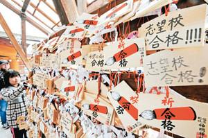合格への思いを込めて掛けられた多くの絵馬=福井市の神明神社で