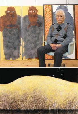 (上)19日から金沢21世紀美術館で個展を開く岩田さん=羽咋市で(下)個展で展示される代表作の1つ「礼文」