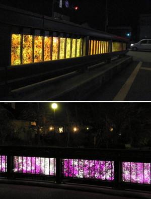 (上)秋の紅葉をイメージした明治橋(下)白から紫色に変わる安斉橋=いずれも小松市西町で