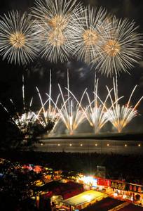 色鮮やかな大輪が夜空を彩る伊勢神宮奉納全国花火大会=昨年7月、伊勢市の宮川河畔で
