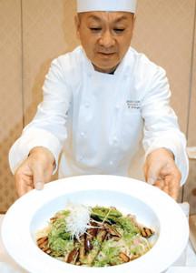 試食会で提供された「夏野菜の和風オイルパスタ」=津市羽所町のホテルグリーンパーク津で