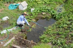 休耕田の一角に水を引き込んでビオトープを設けた小嶋さん=輪島市門前町広岡で
