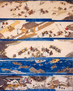 5つの場面を描いた石山合戦絵伝=長浜城歴史博物館提供