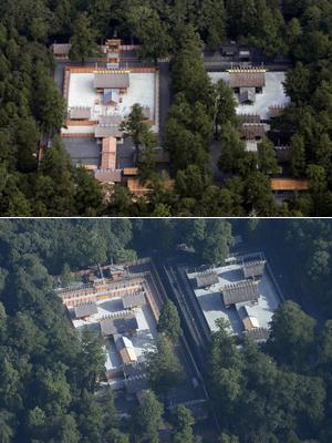 (上)20年に1度の式年遷宮で建て替えられた、伊勢神宮内宮の新社殿(左)と現社殿 (下)同様に建て替えられた伊勢神宮外宮の新社殿(左)と現社殿=伊勢市で、中日新聞社ヘリ「あさづる」から