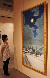 日本の原風景をテーマに集められた油彩画=伊勢市の神宮美術館で