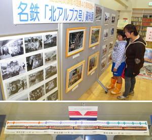 (上)列車の写真を眺める親子(下)長さ1メートルの切符=いずれも立山図書館で