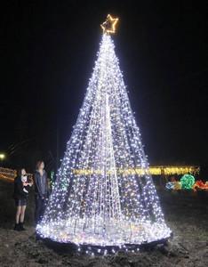 クリスマスツリーの電飾などを楽しむ来訪者=西尾市東幡豆町で