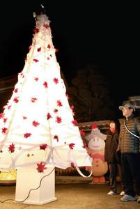 赤いポインセチアがちりばめられ、白く輝く和紙のツリー=美濃市本住町のポケットパークで