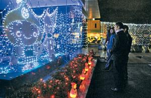 点灯した1万個を超すLEDのイルミネーションを眺める町商工会青年部メンバーら=永平寺町商工会館で
