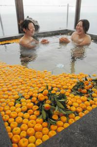 甘酸っぱい香りに包まれる戸田香果橘湯。冬至と元日の両日楽しめる=19日、沼津市戸田で