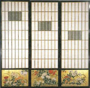 「長浜曳山萬歳樓旧舞台障子腰襖 菊薄図」=曳山博物館提供