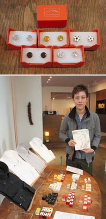 (上)ボタンダウンピアスのシリーズの一つで、球技のボールをモチーフにした製品(下)「蒔絵の可能性を広げたい」と話す針谷さん=金沢市松寺町で