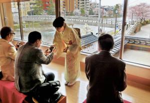 お茶を味わいながら花見を楽しむ来場客ら=いずれも金沢市東山で